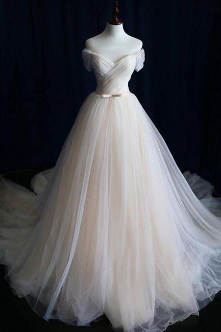 Simple Light Champagne Off the Shoulder Tulle Wedding Dress,cheap bridal dress