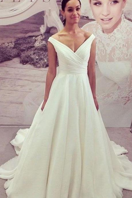 simple wedding dresses ,Off-the-Shoulder Cap Sleeves Court Train Chiffon bridal dress