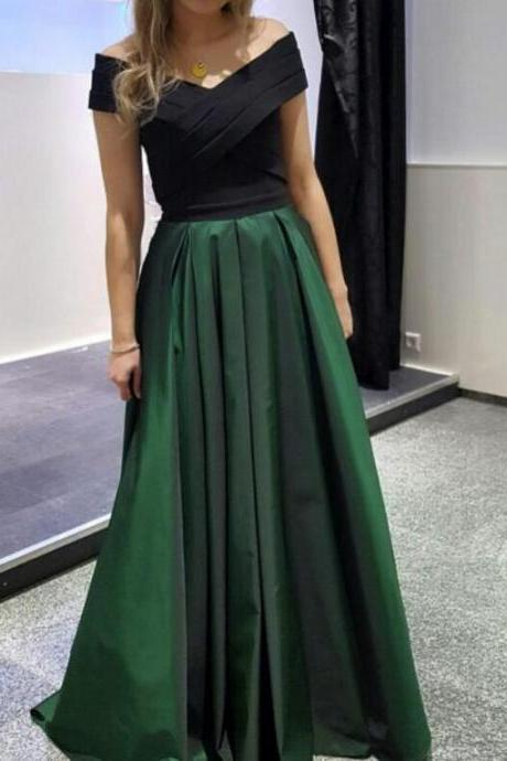 cap sleeve prom dress ,Dark Green and Black Long Formal Dresses,Evening Gowns, Formal Dresses, women Party Dresses