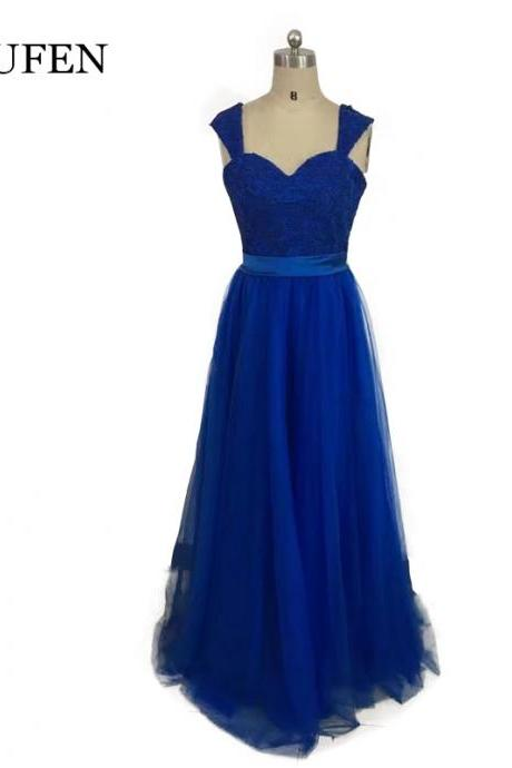 royal blue evening dress,2017 new prom dresses ,chiffon long aline formal dress,women dress,