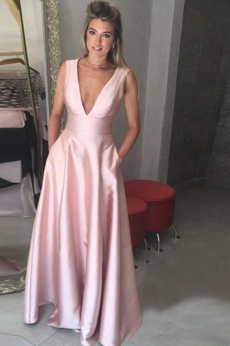 Deep V-Neck prom dress,2017 Floor-Length Pink Satin Prom Dress with Pockets,formal dress ,prom party dress
