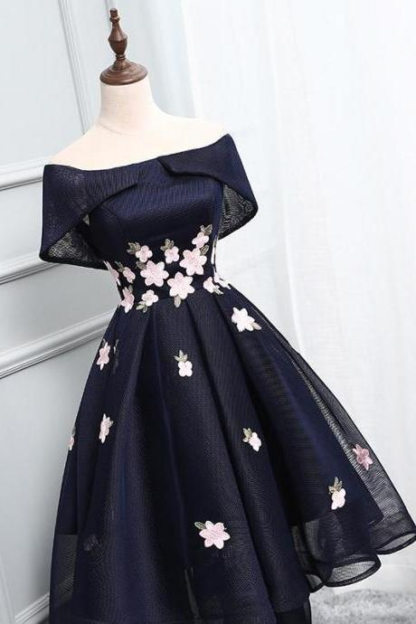Off Shoulder Homecoming Dresses,Navy blue Homecoming Dresses,2017 short prom dress,