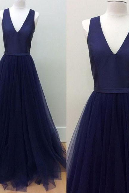 navy blue V-Neck prom dress,2017 Floor-Length tulle Prom Dress with Pockets,formal dress ,prom party dress