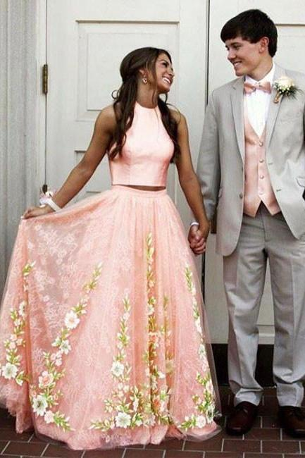 Pink Tulle Lace Two Pieces Long Prom Evening Dress,lace prom dress,formal dress,appliques lace evening dress