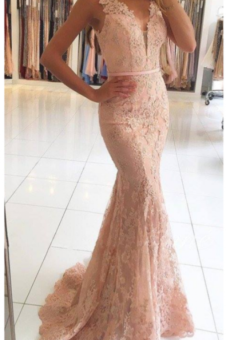 Lace Prom Dresses ,Elegant Lace Mermaid Prom Dresses Beading, Sleeveless Long Evening Gowns, Sexy Sheer Prom Dresses, Formal Dresses for Weddings