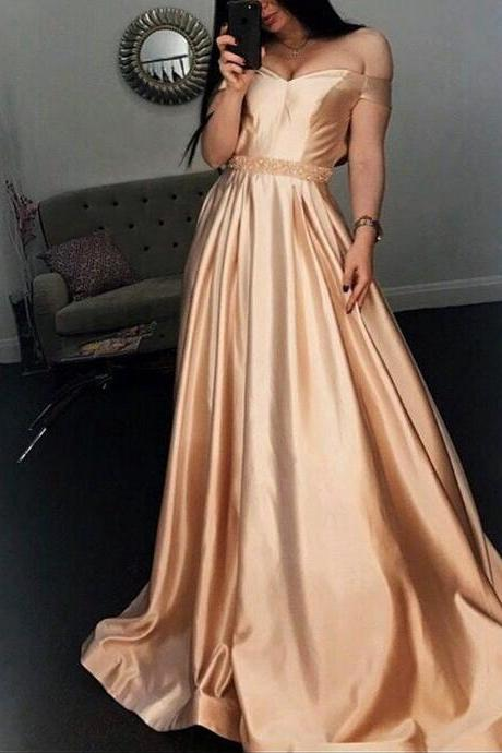 Cheap prom dresses 2017,Off-Shoulder Satin A-Line Long Prom Dresses Unique Beaded Party Dresses Formal Gowns