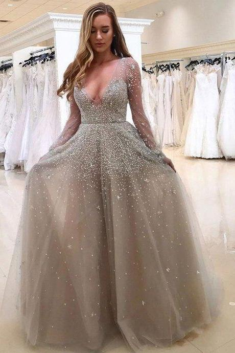 Long Sleeve Prom Dresses, Tulle Prom Dress Vestido De Festa V Neck Sexy Long Evening Dresses