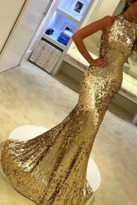 Gold Sequin Prom Dresses High Neck Sexy Long Sleeveless Evening Dresses Elegant Formal Gowns Mermaid Party Pageant Dresses