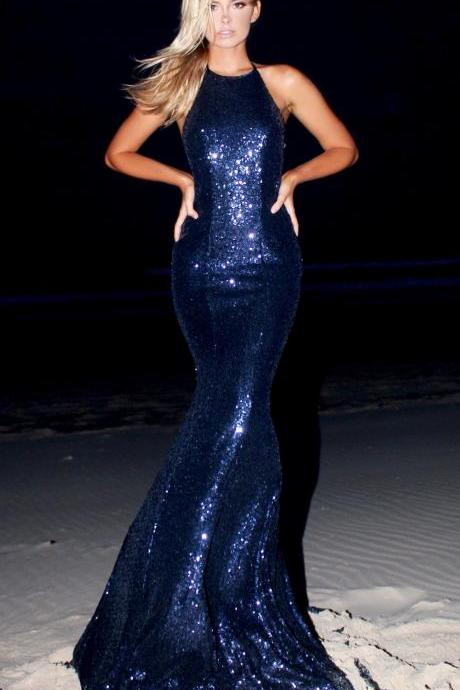 Navy Blue Sequin Prom Dresses Mermaid Long Evening Dresses Backless Formal Gowns Sexy Halter Party Pageant Graduation Dresses