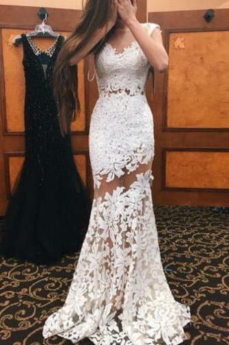 White mermaid lace mesh prom dress for teen,2017 formal dresses