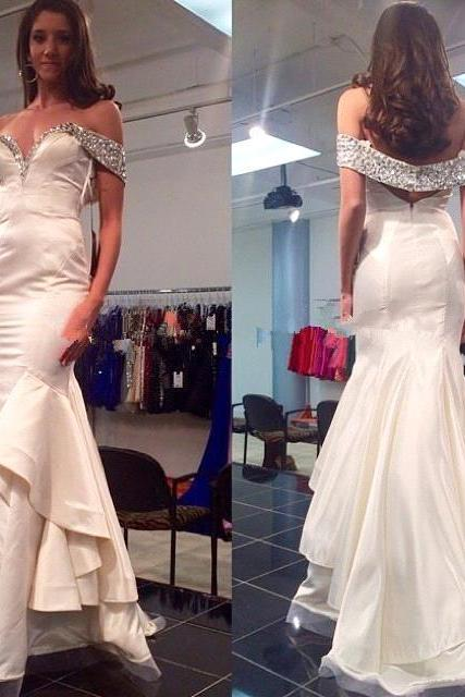 Prom Dress, Formal Dress, Sexy Prom Dresses,White Lace Evening Gowns,Mermaid Party Dresses,off the shoulder Evening Gowns,Modest Formal Dress,Evening Gown For Teens,Formal Dress,Floor-length Prom Dresses,Wedding Guest Prom Gowns, Formal Occasion Dresses