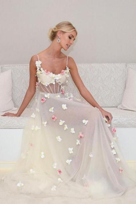 Custom made Floral and Butterfly Sheer A-Line Tulle Long Evening Dress , Homecoming / Prom Dresses , Wedding Dresses