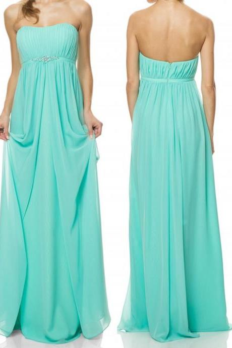 Custom Made Mint Green Strapless Draped Sweetheart Neckline Chiffon Long Evening Dresses, Prom Dresses, Wedding Dress, Bridesmaid Gowns