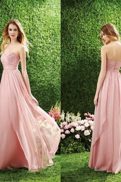 Pink Chiffon Sweetheart Chiffon Wedding Dresses, Cheap Bridesmaid Dresses, Simple Wedding Dresses, A-Line Long Evening Dress Custom