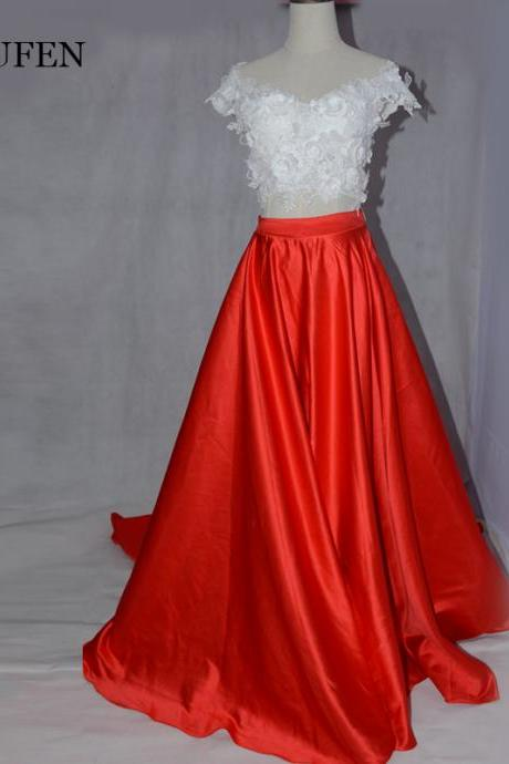 Simple bridesmaids dresses ,two prom dress,evening dress, red lace formal dress 2018 new wedding party dress