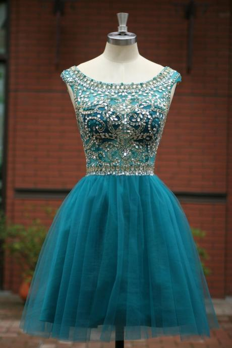 Elegant Sleeveless Tulle Short Prom Dress 2015, Party Dress,Evening Dress 2017 Cocktail Dress Homecoming Dress