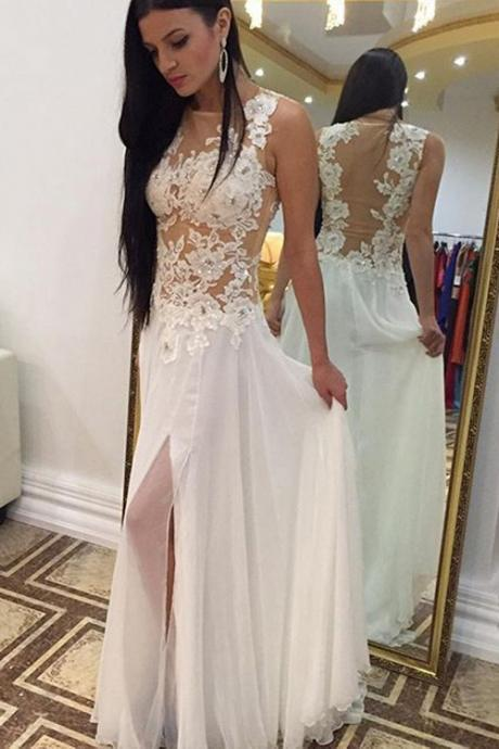 Elegant chiffon Prom Dress,appliques lace Prom Dress,Sexy Prom Dresses,Long Evening Dresses