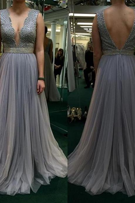 fashion gray prom dress ,2017 a line Prom Dress,Sexy Elegant Prom Dresses,low chest Prom Dress ,Long Evening Dress