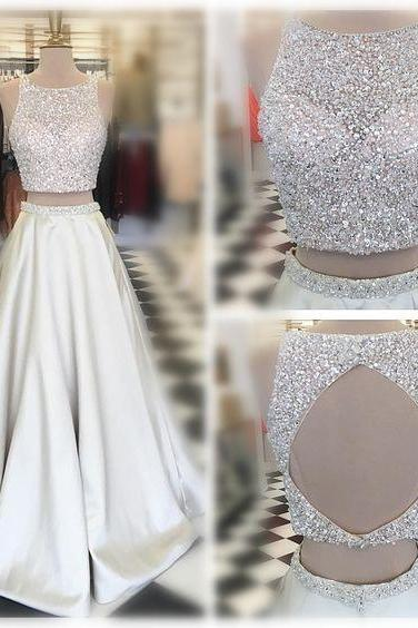 fashion 2 piece Prom Dress,women gowns ,a line pageant dress ,Two Pieces Evening Dress,Long Beading Prom Dresses,Sexy Back Hole Party Dress