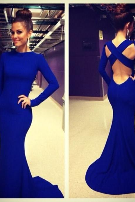 Simple royal blue Prom Dress, Long Sleeves Prom Dress, Open Back Prom Dress, blue Prom Dress, Mermaid Prom Dress