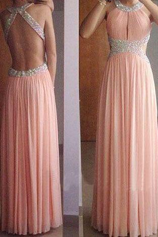 2017 backelss prom dress ,pink prom dress ,beaded prom gown ,chiffon evening dress formal party gown
