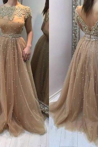 long prom dress,gorgeous prom dress,beaded prom dress,short sleeves prom dress,2017 new evening dress