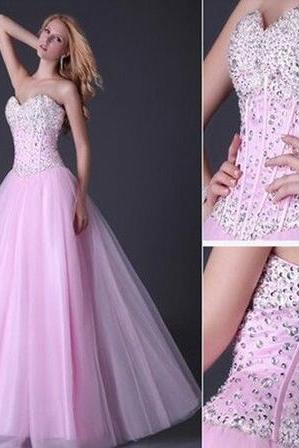 Pink Prom Dress, Beading Prom Dress, High Quality Prom Dress, A-Line Prom Dress, Sweetheart Prom Dress, Lace-Up Prom Dress, Tulle Prom Dress, Custom Prom Dress