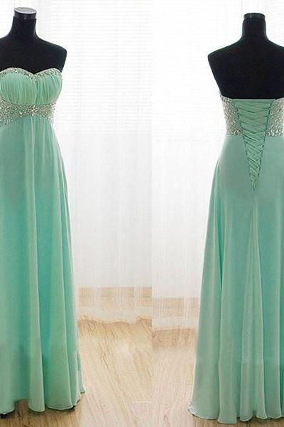 long prom dress, mint prom dress, party prom dress, sweetheart prom dress, chiffon prom dress, cheap prom dress, bridesmaid prom dress
