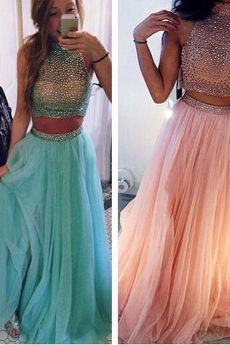 Long Prom Dress,Tow Pieces Prom Dress,Sleeveless Prom Dress,Party Prom Dress ,Evening Prom Dress,Custom Prom Dress,Elegant Prom Dress,Discount Prom Dress