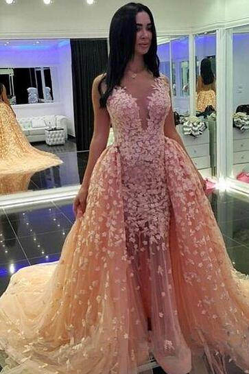 Champagne Prom Dress, V Neck Prom Dress, Lace Applique Prom Dress, Elegant Prom Dress formal dress ,evening dress long
