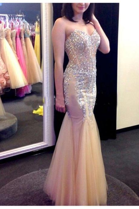 luxury formal Dress,New Arrival Mermaid Prom Dress,Tulle Prom Dress,Sexy Prom Party Dress,Formal Evening Dress,women pageant gown