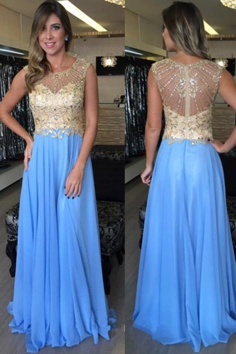 Prom Dress, Chiffon Prom Dress, Long Prom Dress, Beading Prom Dress, Lining Prom Dress, Scoop Neckline Prom Dress, Blue Prom Dress, Zipper Back Prom Dress, Full Back Prom Dress, Evening Dress, Party Dress