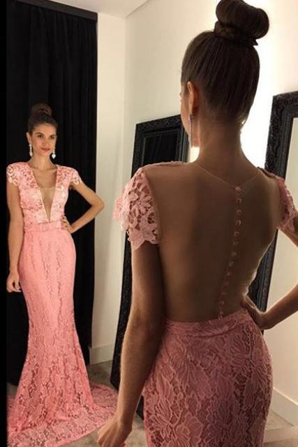 Evening Dress,Long Evening Dresses,Mermaid Formal Dress,Pink Formal Gown,Women Dress,Princess Prom Gowns,Lace prom gown