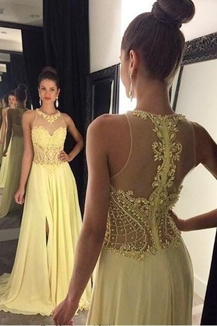 yellow prom dress ,long prom dress ,crystal beaded prom dress ,evening dress ,elegant evening dress