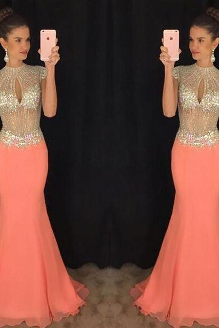 Long prom dress, gorgeous prom dress, beading prom dress, sparkly prom dress, cap sleeve prom dress, sexy prom dress, prom dress, impression prom dress, prom gown,