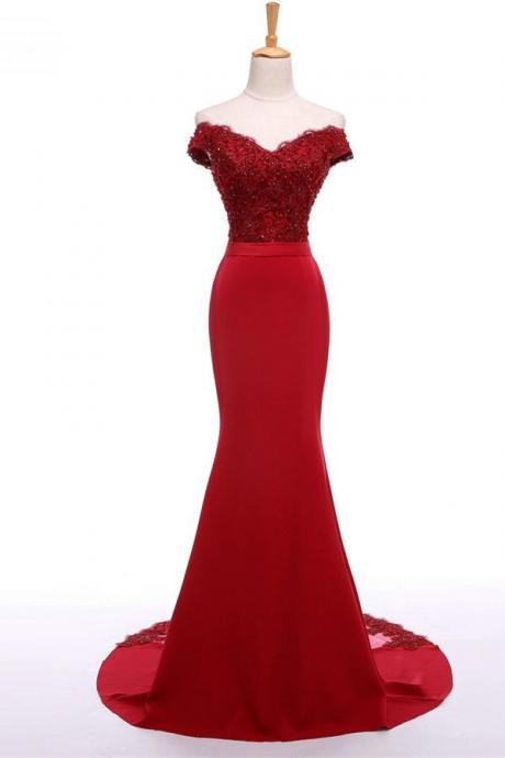 Red Floor Length Mermaid Prom Dress Featuring Lace Appliquéd and Sequinned Off The Shoulder Bodice