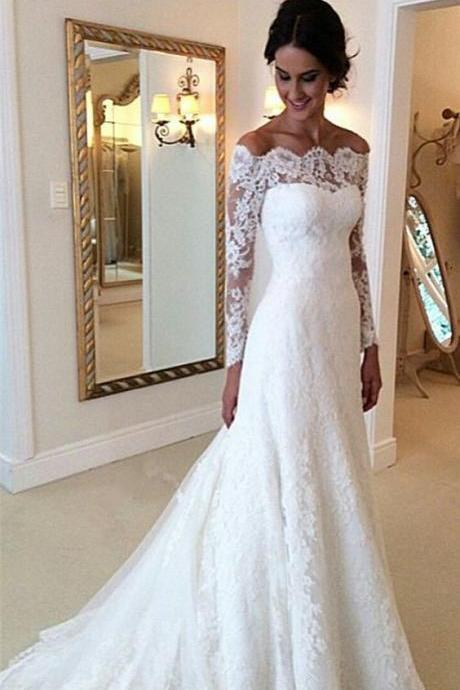 Lace Off-The-Shoulder Long Mesh Sleeves Floor Length Trumpet Wedding Dress Featuring Train