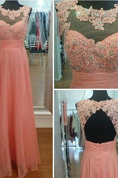 lace prom dress, backless prom dress, peach prom dress, party dress, cheap prom dress, occasion dress, prom dress
