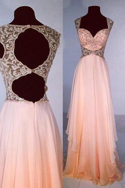 High Quality Long Prom Dress,Sweetheart Prom Dress,Beaded Prom Dress,Prom Dress 2017, Peach Prom Gowns