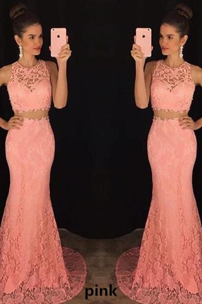Lace Two-Piece Formal Dress Featuring Crew Neck Sleeveless Crop Top and Floor Length Mermaid Skirt
