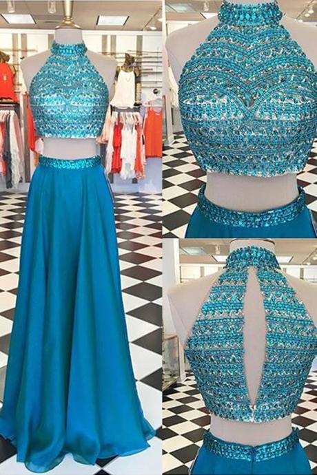 New Arrived Prom Dress, Long Prom Dress, Chiffon Prom Dress, Pool Prom Dress, Two Pieces Prom Dress, Keyhole Back Prom Dress, High Neck Prom Dress, Beading Prom Dress, Evening Dress, Party Dress