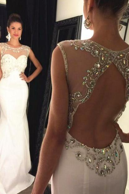Prom Dress, Mermaid Prom Dress, Long Prom Dress, Low Back Prom Dress, White Prom Dress, Chiffon Prom Dress, Beading Prom Dress, Sweetheart Prom Dress, Charming Evening Dress, Party Dress