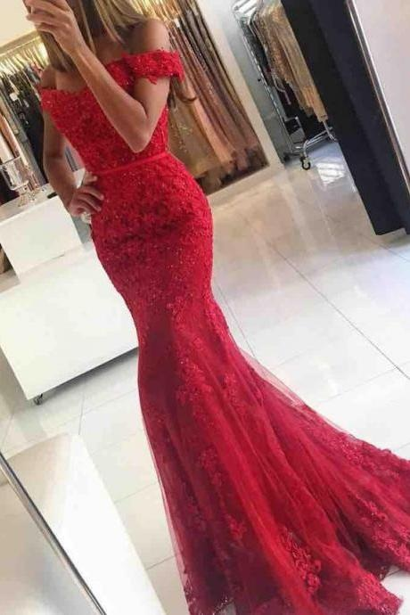 Red Prom Dress,Lace Prom Dress,Mermaid Prom Dress,Off-The-Shoulder Prom Gowns,Sexy Prom Dress,Long Evening Prom Dress,Beading Prom Dress,Charming Prom Dress,Prom Dresses