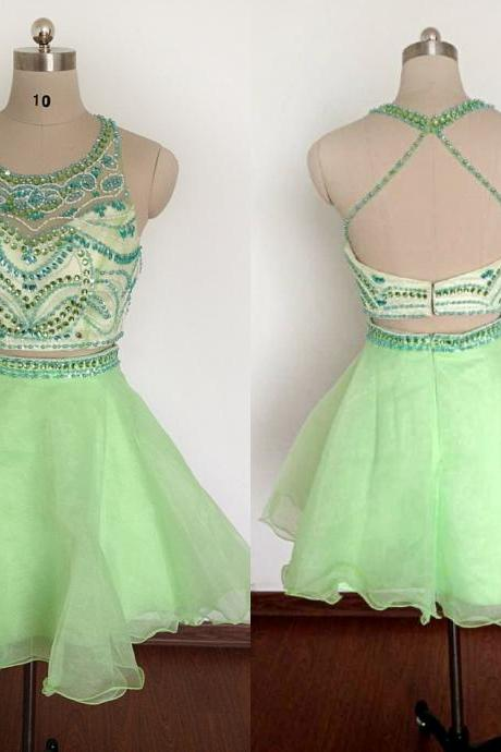 Two Pieces New Light Green Short Homecoming Dresses A-Line Halter Backless Beaded Crystals Prom Dresses Cocktail Gowns