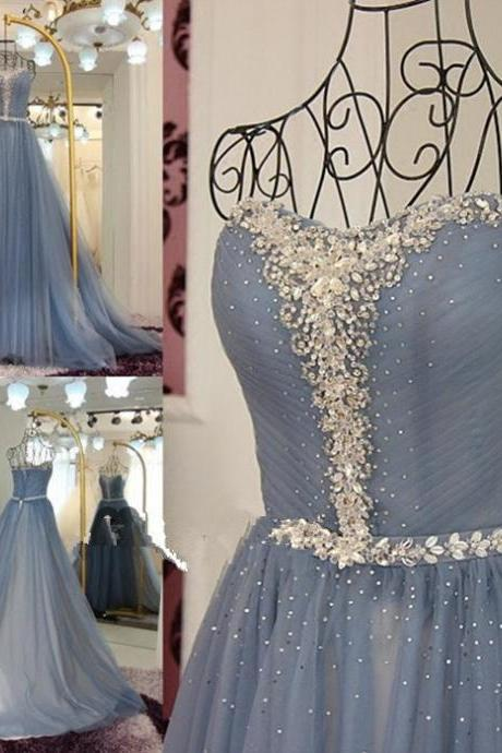 Beaded Embellished Chiffon Ruched Sweetheart Floor Length Prom Gown Featuring Train, Formal gown