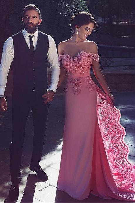 Prom dress,long prom dress,pink prom dress 2017,lace applique prom dress