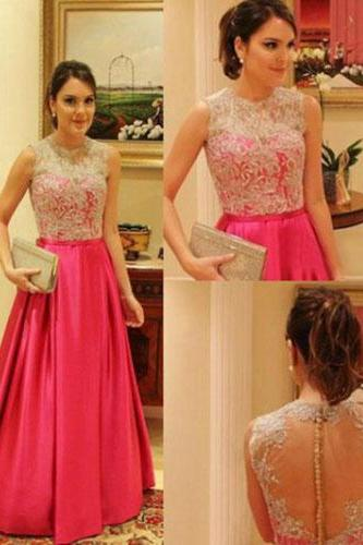 long prom dress, hot pink prom dress, vintage prom dress, lace prom dress, cheap prom dress, party prom dress, evening dress gown