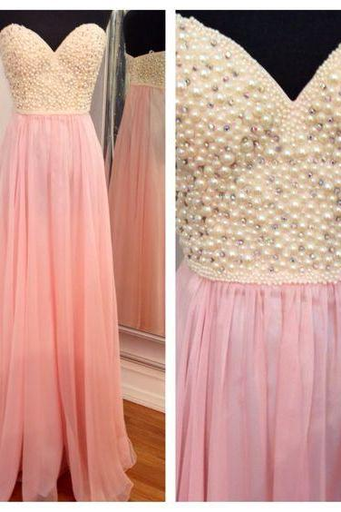 Pink prom dress, beading prom dress, long prom dress, sweet heart prom dress, charming prom dress, gorgeous prom dress, juniors prom dress, pretty prom dress, evening party dress