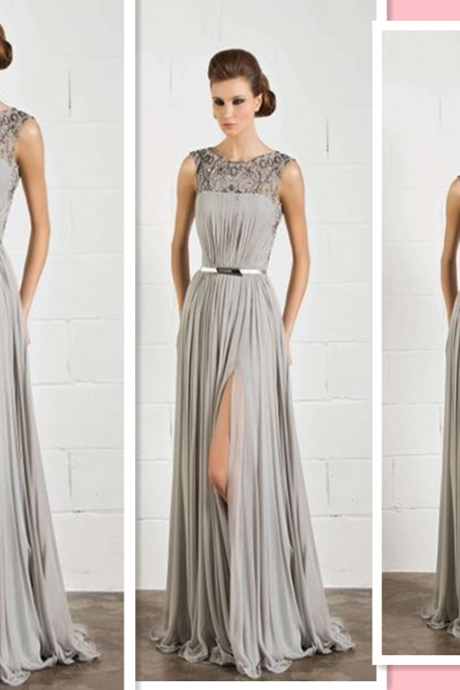 O Neck Formal Dresses, Long Evening Dresses , 2016 Long Formal Dresses , Women Split Sleeve prom Dresses , Formal Evening Dresses,Women Dresses,Gray Bodycon Evening Dresses,Chiffon Evening Dresses