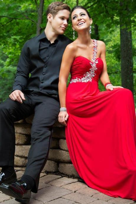 long elegant red prom dress, Luxury long beaded prom dresses,one shoulder crystal evening dresses , sexy formal prom dresses,dresses party evening sexy evening gowns formal dresses evening new arrival formal dresses,elegant long evening dresses